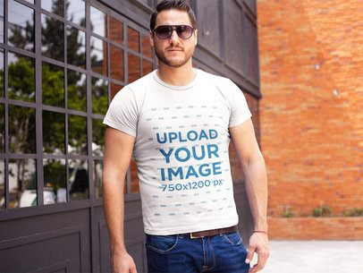 Serious White Guy Wearing Sunglasses and a Tshirt Template While Outdoors a16004