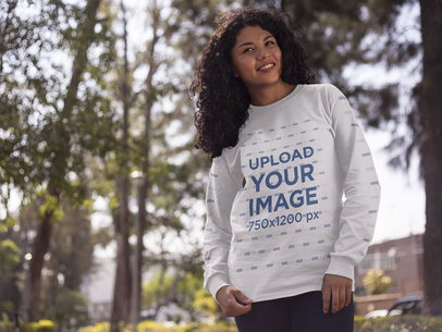 Young Happy Black Woman Wearing a Crewneck Sweatshirt Mockup While in the Forest a15973
