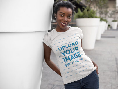 Smiling Young Lady Wearing a Round Neck Tshirt Template While Outdoors a16074