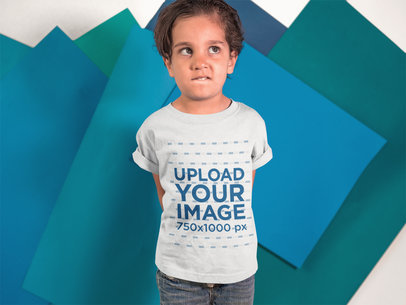 Little Kid Making Faces While Wearing a T-Shirt Mockup a16133
