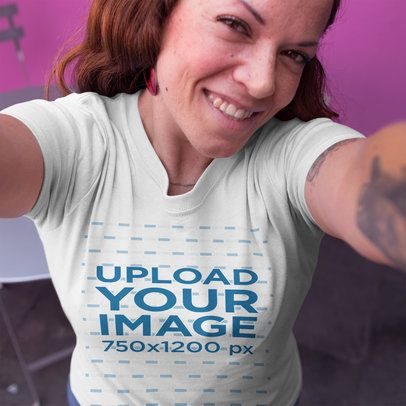 Selfie of a Customer Wearing a T-Shirt Template at a Coffeeshop a16232