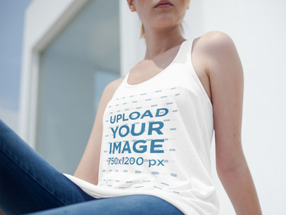 Mockup of a Cropped Face Girl Wearing a Bella Canvas Tank Top Outdoors a16115