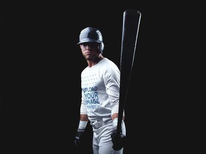 Baseball Uniform Designer - Front Shot of a Batter in Dark Room a15992