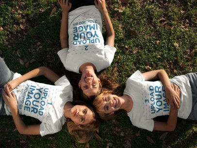 Three Girlfriends Having Fun While at a Park Wearing Round Neck Tees Mockup a16279