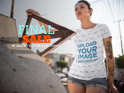 Facebook Ad - Young Woman Climbing up a Truck Wearing a Sublimated Tee a15419