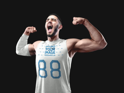 Basketball Jersey Maker - Screaming Man Flexing to Celebrate a16355