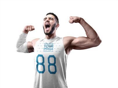 Basketball Jersey Maker - Screaming Man Flexing His Muscles to Celebrate a16355