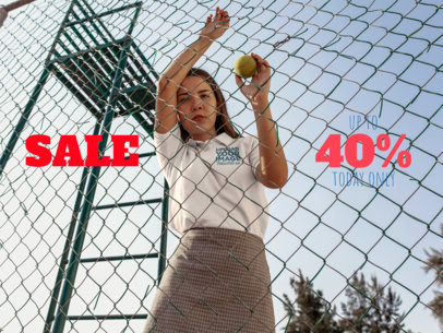 Facebook Ad - Girl Wearing a Polo Shirt Against a Fence a15720
