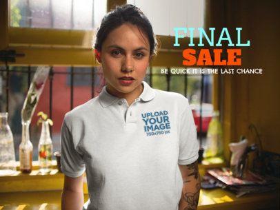 Facebook Ad - Closeup of a Girl Wearing a Polo Shirt a15429