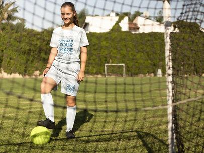 Custom Soccer Jerseys - Little Girl About to Kick the Ball a16375