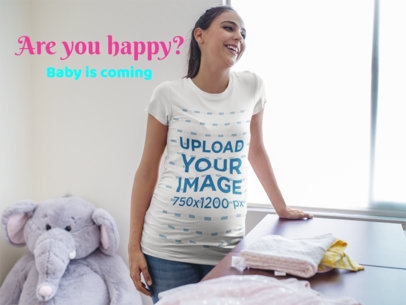 Facebook Ad - Smiling Pregnant Woman Wearing a Round Neck Tee Indoors a16333