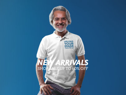 Facebook Ad - Happy Elder Guy Wearing a Polo Shirt a15743
