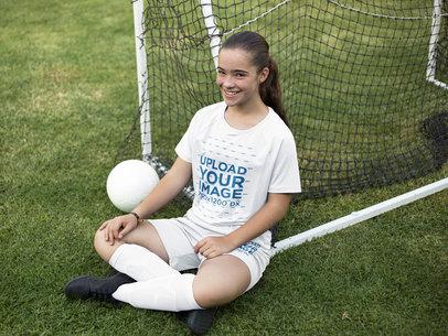 Custom Soccer Jerseys - Smiling Girl Sitting Down Near the Bow a16377