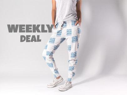 Woman Wearing Sweatpants Mockup and Converse at the Studio a15592