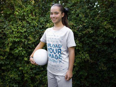 Custom Soccer Jerseys - Girl Holding Soccer Ball a16372