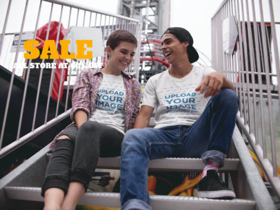 Facebook Ad - Young Couple Wearing T-Shirts While Talking in Stairs a16436