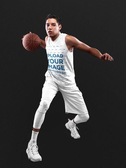 Basketball Jersey Maker - Hispanic Teenager Dribbling a16494
