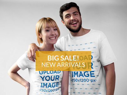 Happy Couple Wearing T-Shirts Mockup a16271