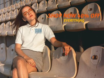 Facebook Ad - Pretty Girl Wearing a Polo Shirt While at the Stadium a15727