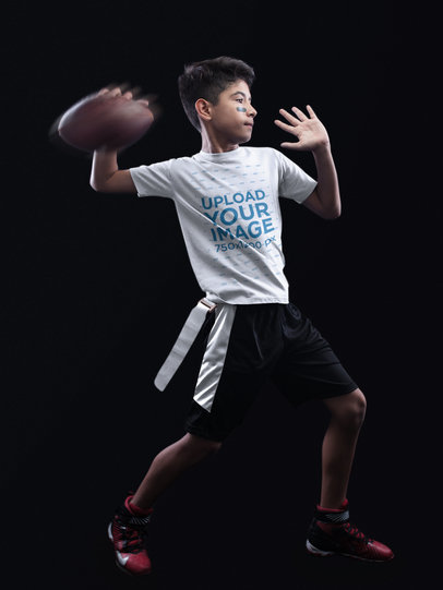 Custom Football Jerseys - Kid Throwing the Ball in Black Room a16492