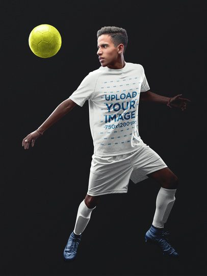 Custom Soccer Jerseys - Hispanic Teen About to Kick a16482