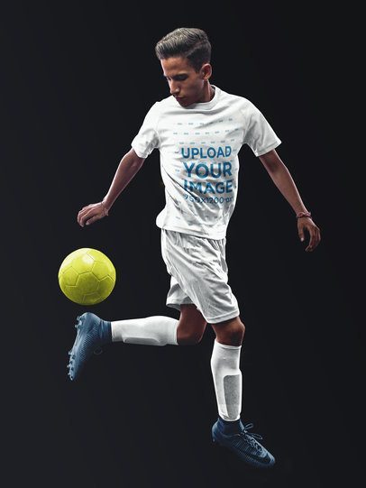 Custom Soccer Jerseys - Teen Playing with Ball Against Solid Background a16481