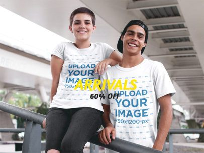 Facebook Ad - Teenagers Wearing Two Round Neck T-Shirts Mockup While Under a Bridge a16446