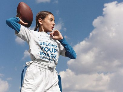 Football Jersey Generator - Little Teen Girl About to Throw the Ball a16515