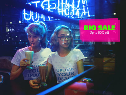 Mockup of Two Women Having Milkshakes While at a Restaurant at Night a16432