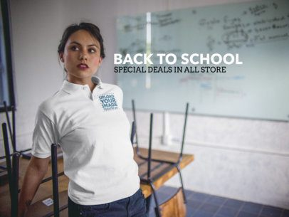 Facebook Ad - Hispanic Woman Wearing a Polo Shirt Inside a Classroom a15413