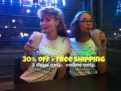 Facebook Ad - Two Girls Drinking Smoothies in a Restaurant at Night a16417