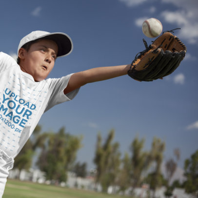 Baseball Uniform Designer - Pitcher Kid Trying to Catch a Ball a16409