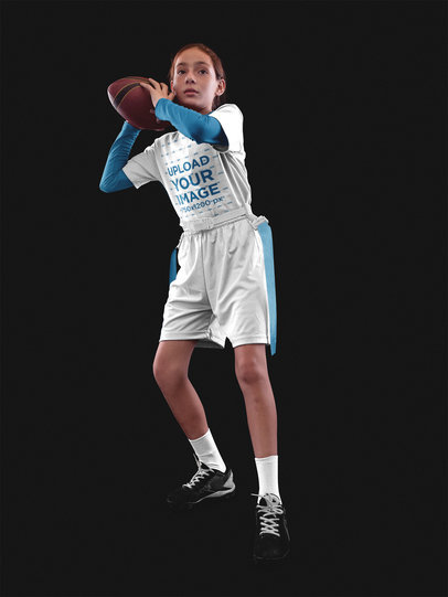 Custom Football Jerseys - Focused Girl Throwing the Ball Inside the Studio a16528