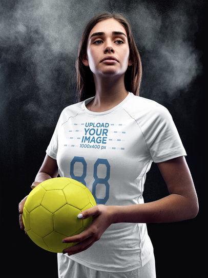 Custom Soccer Jerseys - Girl Holding the Ball on Powerful Pose a16521