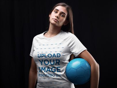 Custom Soccer Jerseys - Teen Girl Holding the Ball Inside the Studio a16525