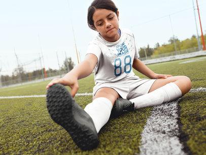 Custom Soccer Jerseys - Girl Streching at the Field a16543