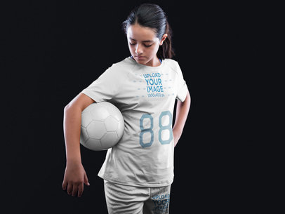 Custom Soccer Jerseys - Girl Holding a Ball at the Studio a16549