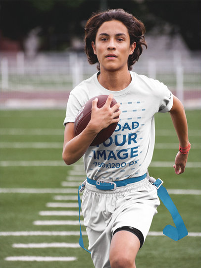 Custom Football Jerseys - Teen Boy Running on the Field a16581