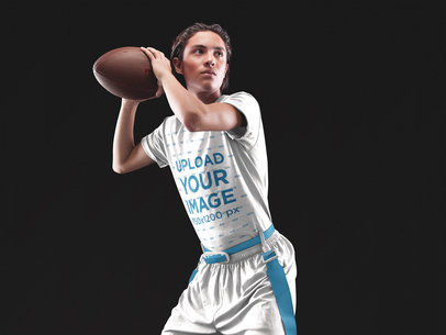 Custom Football Jerseys - Teen Boy About to Throw the Ball a16579