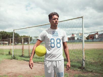 Custom Soccer Jerseys - Man Standing by Goal Posts a16559
