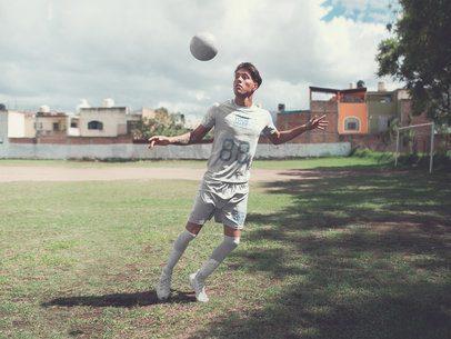 Custom Soccer Jerseys - Man Receiving a Ball at the Hood Field a16556