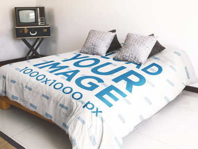 Mockup of a Duvet Cover Inside a Hipster Room a16397