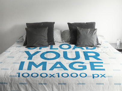 Front Shot of a Duvet Cover Template with Gray Pillows a16404