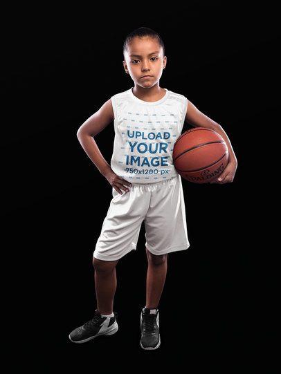 Basketball Jersey Maker - Little Girl Holding the Ball a16588