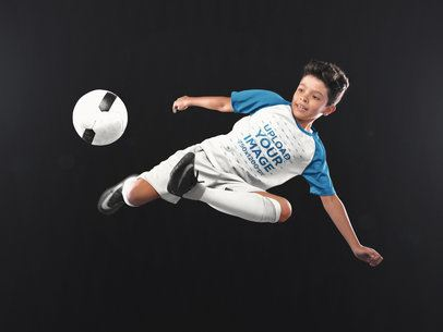 Custom Soccer Jerseys - Boy Doing a Scissor Side Kick a16605