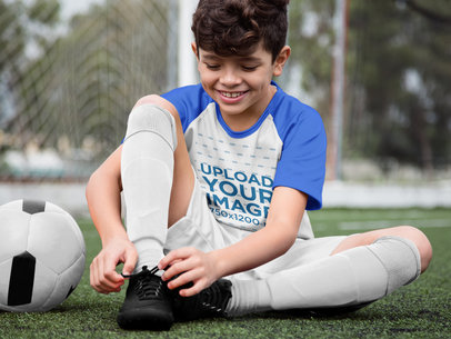 Custom Soccer Jerseys - Happy Boy Buckling his Shoes a16607
