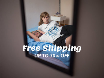 Facebook Ad - Mirror Showing Two Girls Wearing Round Neck Tees While on the Bed a16411
