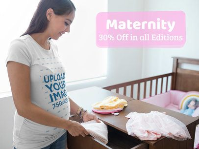 Facebook Ad - Mom To Be Preparing Her Baby Room Wearing a T-Shirt a16332