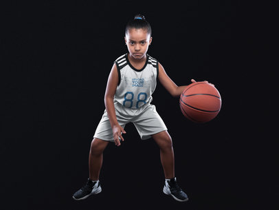 Basketball Jersey Maker - Little Girl Dribbling Inside the Studio a16589