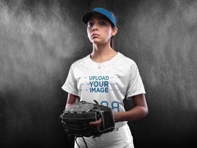 Custom Softball Jerseys - Woman Standing in the Studio a16695
